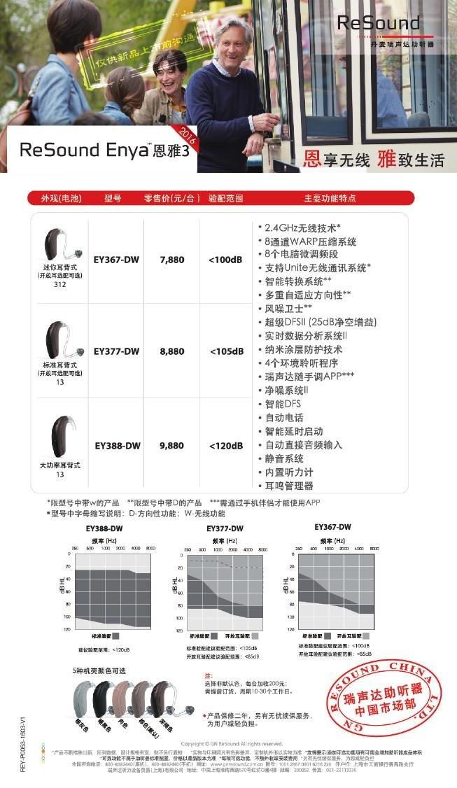 瑞声达助听器恩雅3(ReSound Enya)系列耳背式助听器价格表